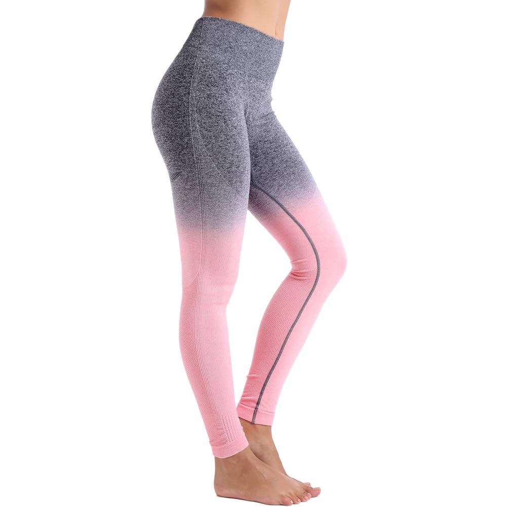 Aoxjox Yoga Pants for Women High Waisted Tummy Control Gym Sport Ombre Seamless Leggings (Charcoal/Peach Pink, X-Small)