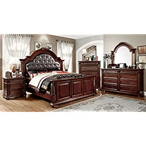 FURNXiture of America Archimedes 3-Piece English Style Bedroom Set with Nightstand and Chest