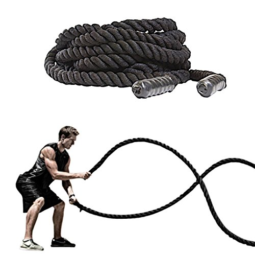 FireBreather Training BATTLE ROPES by Great Workout Equipment for Strength & Cardio. Exercise Rope w/Protective Sleeve & Handles (Black, 40 Feet)