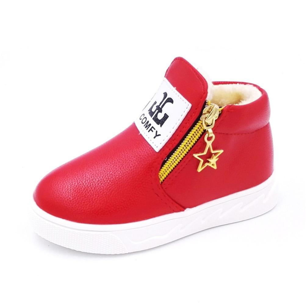 Martin Bottes Sneakers Etoiles Zipper Chaud, QinMM Lettre Enfants Garçon Filles Mode Chaussures.