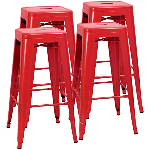 JUMMICO Metal Bar Stool Backless 30 Inches Stackable Barstools Indoor Outdoor Modern Industrial Bar Stools Set of 4 (Red) (Stool Stackable Bar)