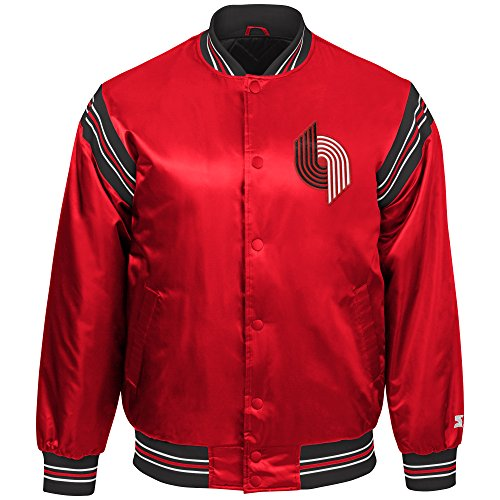 (STARTER NBA Portland Trail Blazers Youth Boys The Enforcer Retro Satin Jacket, Medium, Red)