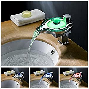 Facilla® Color Changing LED Waterfall Faucet Tap Chrome Finish Round Bathroom Sink Basin color changing