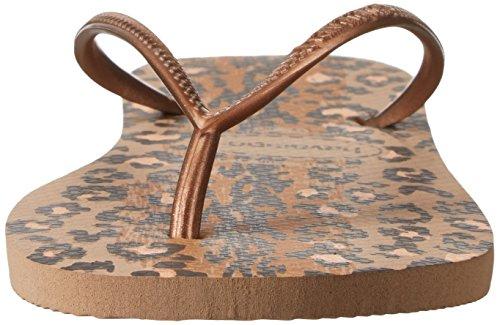 Havaianas Damen Slim Animals Sandale Flip Flop, Beige / Koralle Neu, 35 BR / 6 W US Roségold
