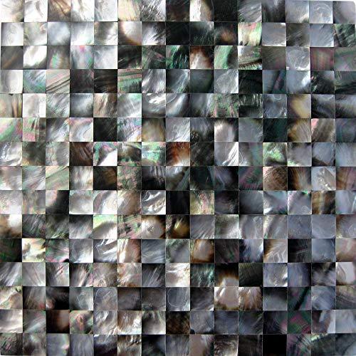 (GYD Mosaic,Black Seashell,Mother of Pearl Shell Mosaic Tile,Backsplash for Kitchen Tile,Bathroom Wall Tile (Pack of 6 Sheet))