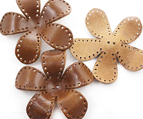 (1pc Brown Exclusive Natural Genuine Colored Leather Flower Large Charm Pendant Earring Jewelry Making Supply 63mm x 11mm)
