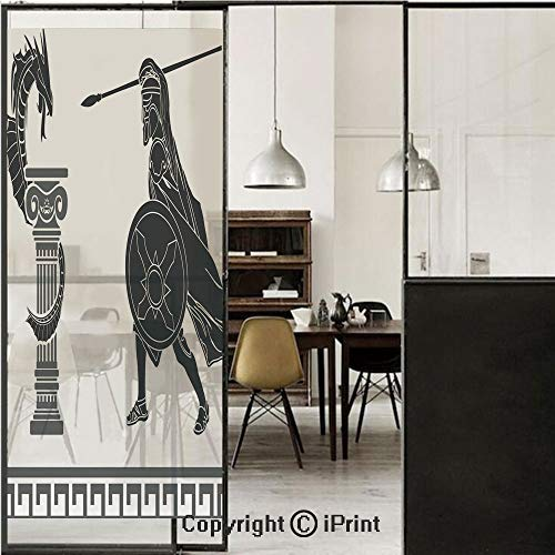 Toga Party 3D Decorative Film Privacy Window Film No Glue,Frosted Film Decorative,Mythological Scene Ancient Hero and Dragon Hellenic Legend Fantasy Decorative,for Home&Office,17.7x59Inch Grey -