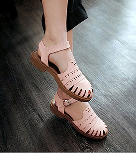 Avec Sandales Bout Boucle Rose Mode Femme Aisun Talon Fermé Bas xUn0Ax1Yq