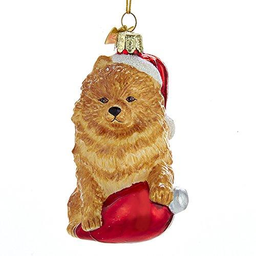 Pomeranian Christmas Ornament (Kurt Adler Glass Noble Gems Pomeranian on Red C7 Bulb Ornament)