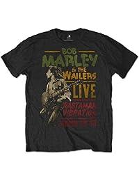 Official Unisex-adults Bob Marley Rasta Man Vibration Tour T Shirt (Black)