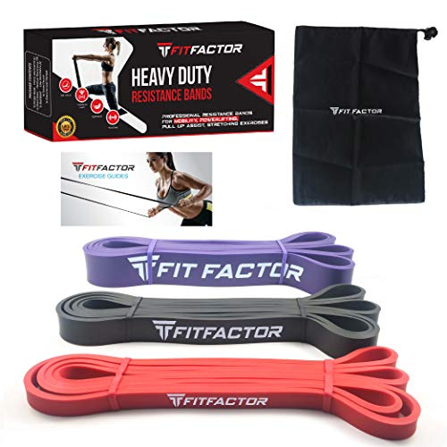 Pull Up Bands - Resistance Workout Bands for Pull Up Assistance, Fitness, Stretching, Barbell Assist Exercise - 3 Pack Set Latex Loop Bands with Carry Bag By FitFactor (Best Pull Up Workout Routine)