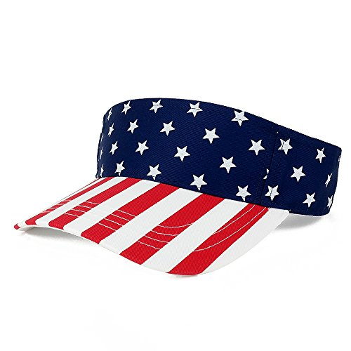 American USA Flags Stars and Stripes Patriotic Twill Cotton Visor - ()