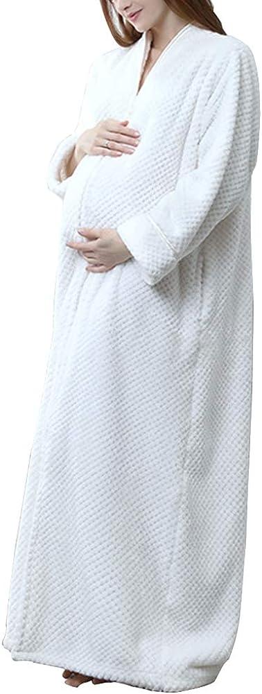 ShiFan Robe De Chambre Longue Femme Fermeture /Éclair Flanelle Peignoir De Bain Chaud Doux