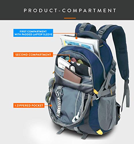 Lunar's Unisex 50L Water Resistant Office/Travel/Business Laptop Backpack, Bag for up to 17.3 inch Laptop/MacBook with rain Cover and 2 Large compartments(Navy Blue)