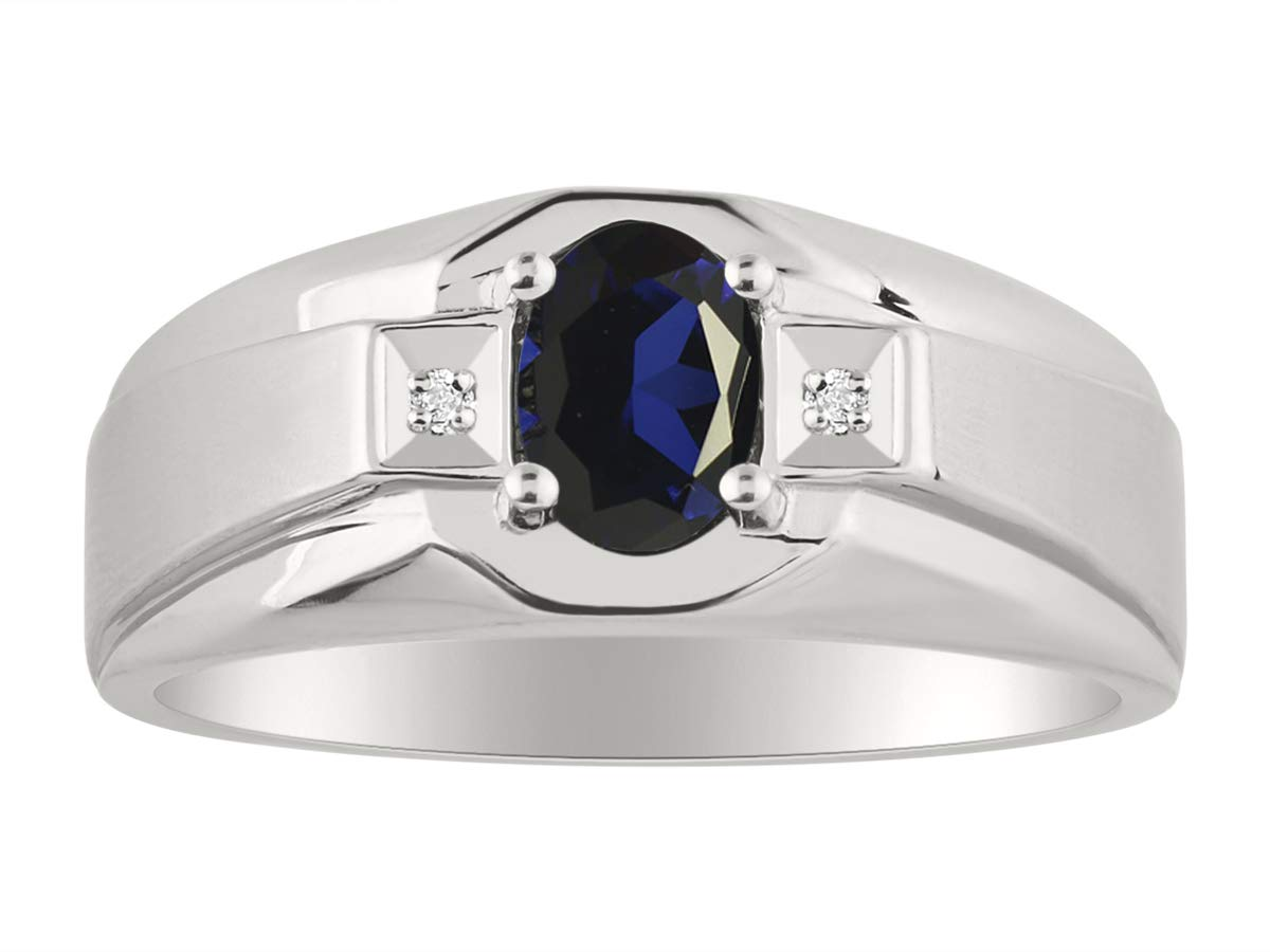 RYLOS Genuine Blue Sapphire & Diamond Ring Set in Sterling Silver With Satin Finish