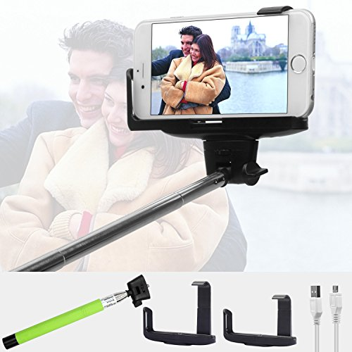 Extendable Selfie Handheld Self Portrait Stick Monopod Bluetooth Wireless Remote Shutter Dual Adajustable phone Holder Mount for Iphone 6 6 Plus 5s 5c 5 4s 4, Samsung Galaxy S6 S5 S4 S3 S2 Note 4 3 2,blackberry, Htc, Sony, Nokia, Lg for System IOS 4.0 Android 3.0 and Above Smartphones (Green)