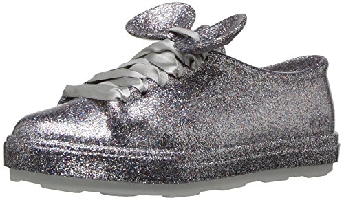 Mini Melissa Girls' Mel Be+Disney Sneaker, Silver, 2 Medium US Little Kid