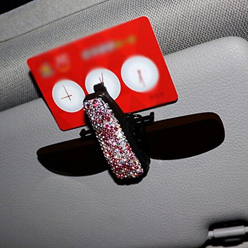 - Besplore Bling Bling Diamond Car Glasses Holder, Eyeglasses Clip Car Visor Sunglasses Ticket Clip Holder, Cash Money Card Holder Sunglasses Mount for Auto Sun Visor(Pink)