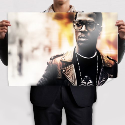 Poster Conew Kid Cudi Glasses Face Jacket Chain wall (36x24inch) - Cudi Kid Glasses With