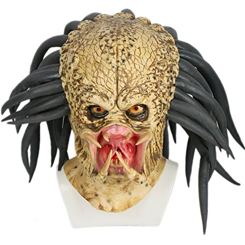 Predator Mask With Dreads - Xcoser Predator Mask Costume Props Accessories