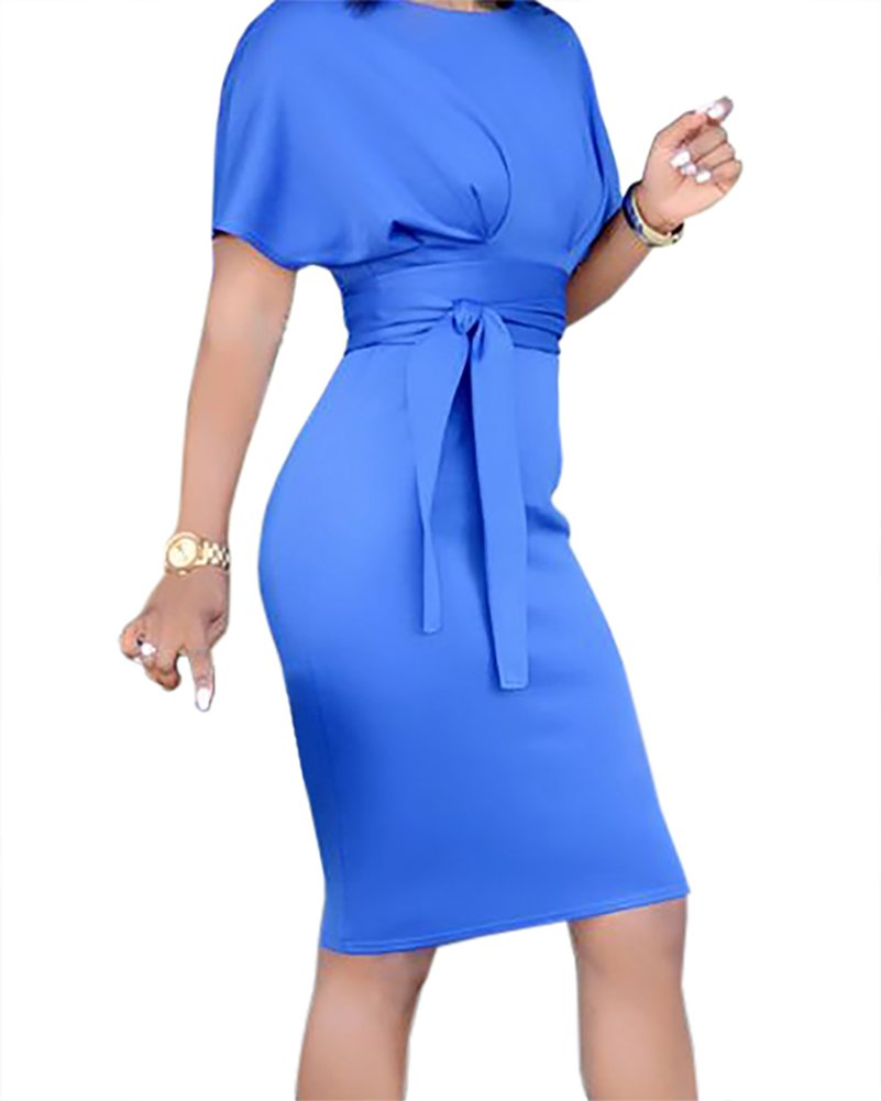 Womens Church Dresses Summer Empire Waist Cocktail Bodycon Pencil Midi Dress with Belt