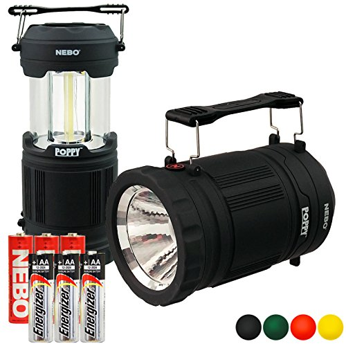 Nebo 6555 Poppy LED Spot Light Flashlight Pop-up Lantern with 3x Extra Energizer AA Batteries