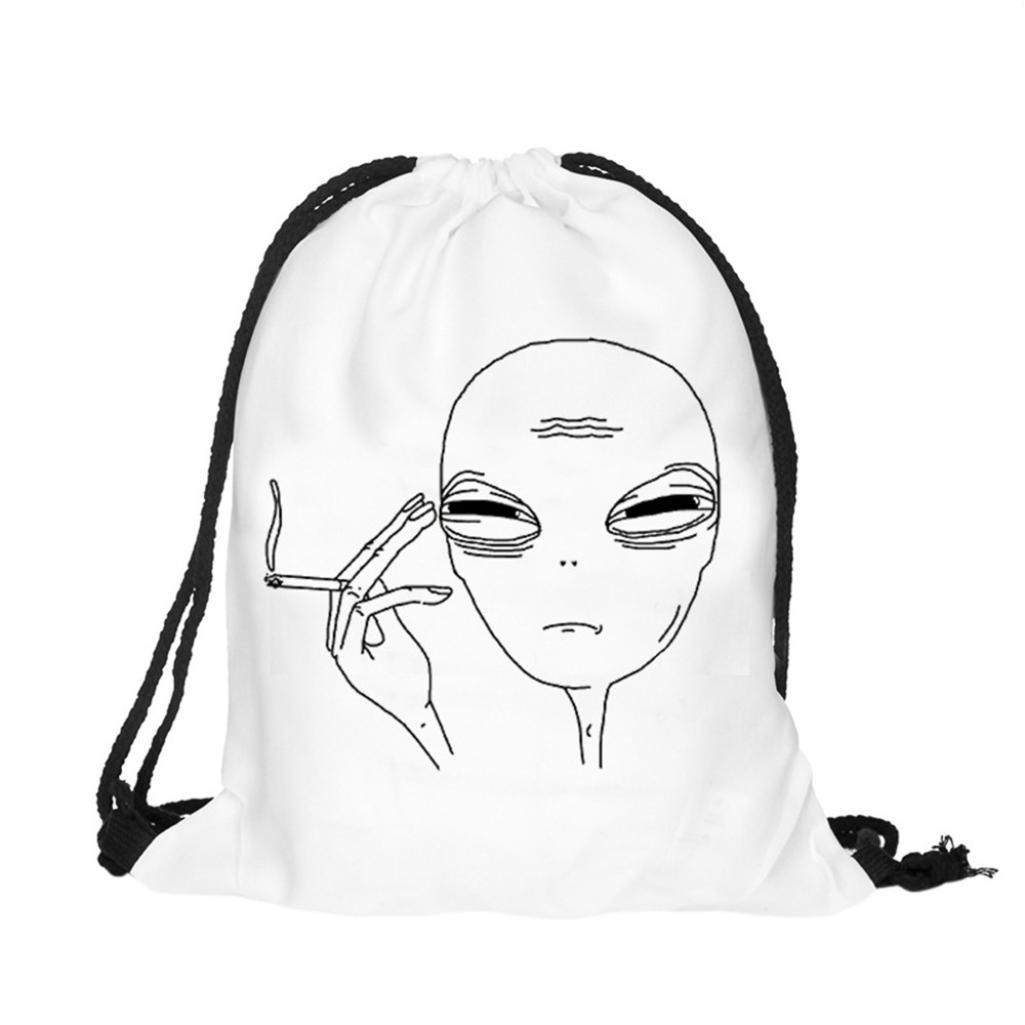 Clearance! Drawstring Backpack, Unisex Funny Alien Print Outdoor Sport Gym Bag Shoulder Bag Cinch Sack Pack (A)
