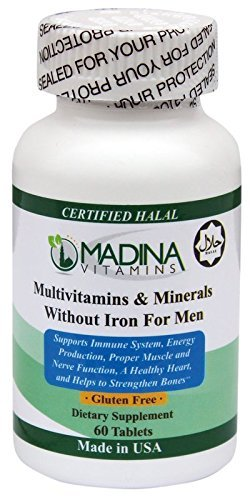 Halal Multi-Vitamins & Minerals For Men Without Iron – Made In USA