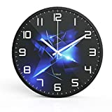 "GITKARL Modern Style 12""Silent Non-ticking Quartz Decorative Wall Clock With Metal Frame,Good for Living Room & Home & Office,Battery Operated -Black For Sale"