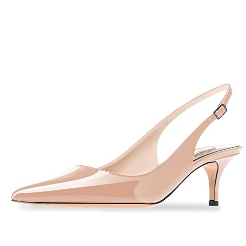 03a9983c612 Modemoven Women s Beige Patent Leather Pointed Toe Slingback Ankle Strap  Kitten Heels Pumps Evening Stiletto Shoes