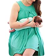GOODBEE Women Plus Size 2in1 Solid Color Discreet Maternity & Nursing Breastfeeding Sleeveless Casual Nightgown Dress (2XL, Green)