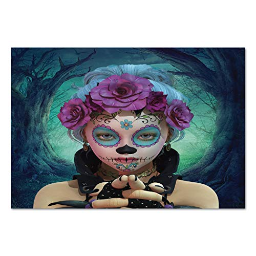 (Large Wall Mural Sticker [ Horror,Scary Clown like Girls Showing her Hands with Gloves an Flowers in Her Head Print,Multicolor ] Self-adhesive Vinyl Wallpaper / Removable Modern Decorating Wall)