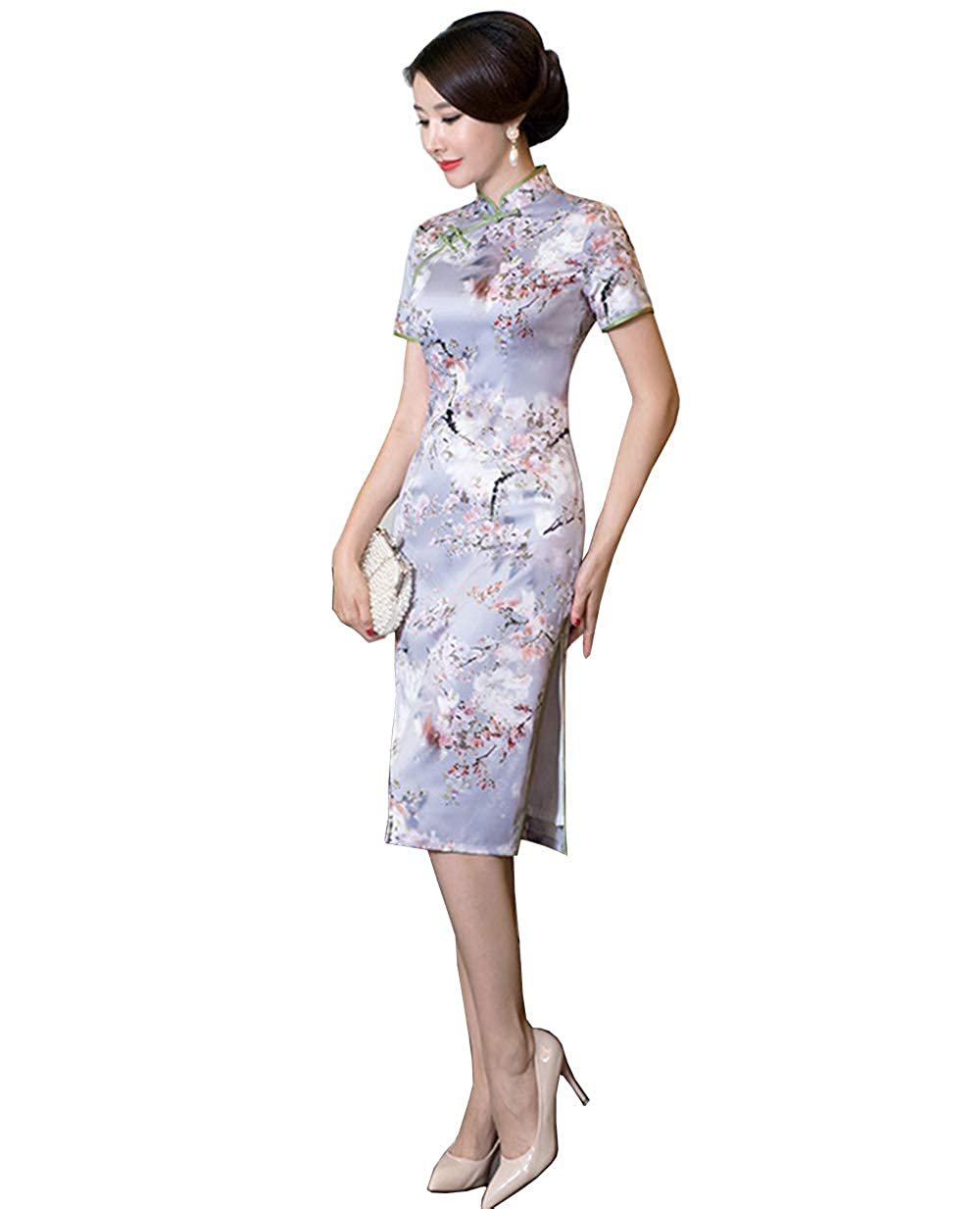 Picture color G Women's Cultural Wear Silk Cheongsam Floral Printing Qipao for Girls