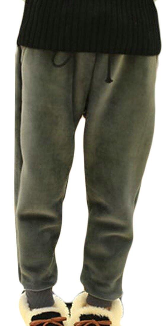 YUNY Girls Velour Fleece-Lined Elastic Waist Sports Jogger Pants Gray 2T