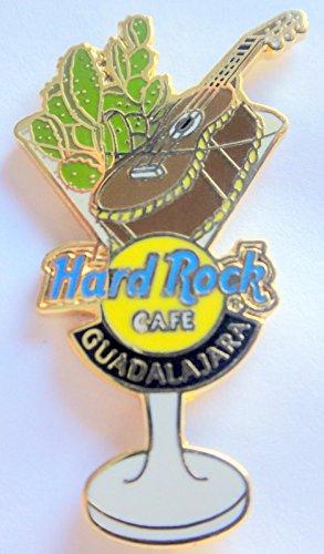 - 2002 Martini Glass w/Guitar & Cactus Pin Hard Rock Cafe Guadalajara Mexico