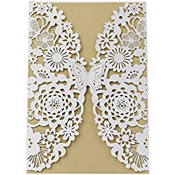 Invitation Cards with Envelopes Laser Cut Flora Lace for wedding invitations, Bridal Shower, Engagement, Birthday, Bachelorette Party, Baby Shower(10 PCS) (10 piece, White-Butterfly)