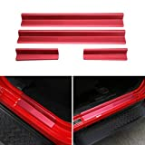 Aluminum Alloy Car Door Entry Protectors Door Sill Guards Front and Rear Entry Guards For 2007-2017 Jeep Wrangler JK 4 Doors (Red)