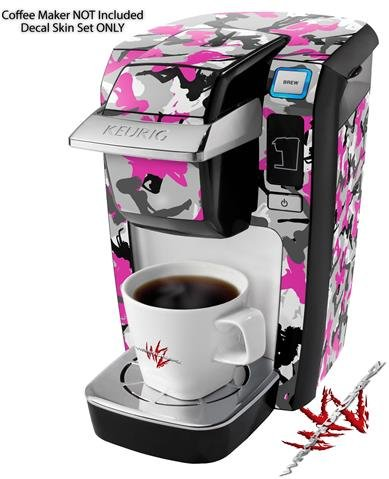 Sexy Girl Silhouette Camo Hot Pink (Fuchsia) - Decal Style Vinyl Skin fits Keurig K10 / K15 Mini Plus Coffee Makers (KEURIG NOT INCLUDED)
