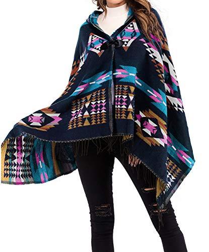 Tomlyws Women's Aztec Cardigan Poncho Cape Tribal Knitwears Tassel Hooded Oversized Blanke Cloak Outwear Coat Tunic Pashmina Blue