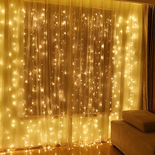 (Twinkle Star 600 LED Window Curtain String Light for Wedding Party Home Garden Bedroom Outdoor Indoor Wall, Warm White)