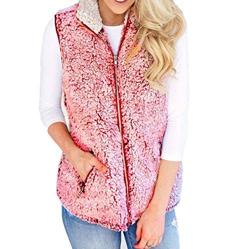 - WEUIE Women Outwear Clearance Sale! Womens Vest Winter Warm Outwear Casual Faux Fur Zip Up Sherpa Jacket (2XL,Pink)