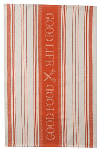 Kay Dee Designs R3468 Cook's Kitchen Good Food Good Life Birdseye Woven Jacquard Tea Towel, Tigerlily