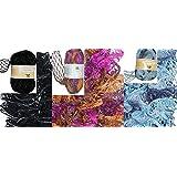 Clearance Pack of 3 Balls Metallic Dee Ruffle Scarf Yarn Mix Colors Lot (mix22)