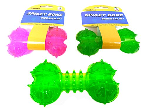 SPIKEY BONE 2.5X4.25'' 3ASST COLOR, Case of 96 by DollarItemDirect