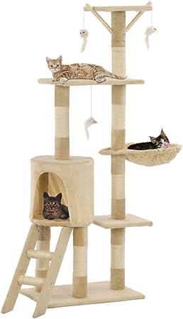 UnfadeMemory Árbol para Gatos,Rascador para Gatos con 1 Escalera,1 Casa Cómoda,Plataformas de Observación y Zonas de Relax,Postes Rascadores de Sisal 138cm (Beige): Amazon.es: Hogar