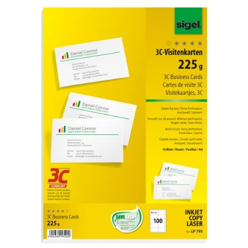 Sigel LP795 Lot De 100 Cartes Visite 3C 85 X 5