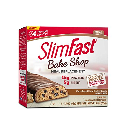 Cookie Chocolate Meal Bar - SlimFast Bakeshop Meal Replacement Bars -  Chocolatey Crispy Cookie Dough Bar, With 15g Of Protein & 5g Fiber, 1.59 Oz, 5 Count