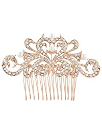 Ever Faith Heart Cream Simulated Pearl Hair Comb Clear Austrian Crystal