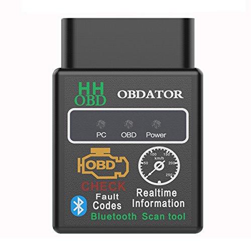 obdator Car Bluetooth OBD OBD2 Scanner Code Reader HH Advance Universal Vehicle Engine System Scanner OBD 2 OBDII Check Engine Light Diagnostic Scan Tool for Android PC