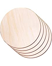 Round Wood Discs for Crafts, Audab 5 Pack Wood Circles 14 Inch Unfinished Wood Rounds Wood Plaque for Crafts, Door Hanger, Door Design, Wood Burning